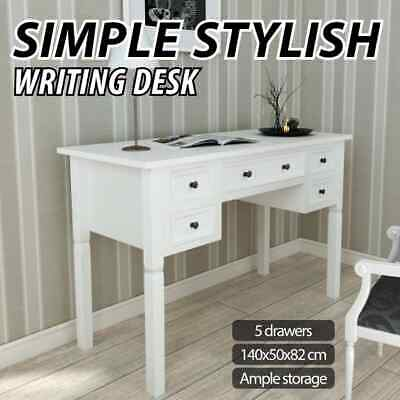 vidaXL Writing Desk with 5 Drawers White Home Office Study Computer Table