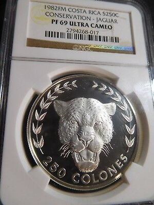 B40 Costa Rica 1982-FM Silver 250 Colones Conservation Cougar NGC PROOF-69 UCAM