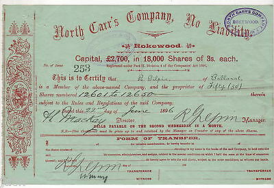 Share Scrip - Mining .1896 North Carr's Co, N/L.. Rokewood VIC