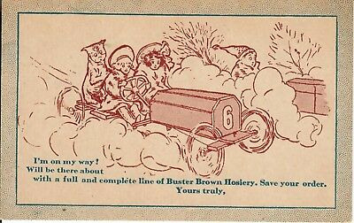 Buster Brown driving Car, with Tige. Early 1900s advertising Postcard. Unique