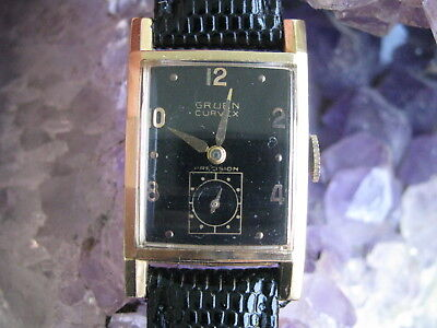 Gruen Curvex 440 Vintage 14K Gold Deco Wrist Watch, Black Face