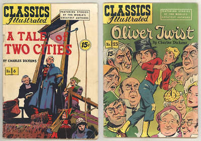 2 Charles Dickens CLASSICS ILLUSTRATED comics: A TALE OF 2 CITIES + OLIVER TWIST