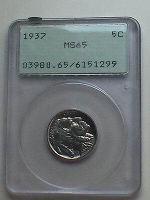 1937 Pcgs Ogh Ms65 Buffalo Nickel / Free Shipping With Insurance!
