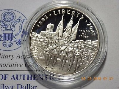 2002-W West Point Commemorative Gem Cameo Proof Silver Dollar in Box w/ COA