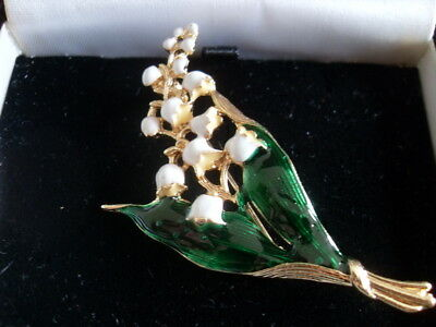 LILY OF THE VALLEY BROOCH cocktail vintage look enamel flower green white spring