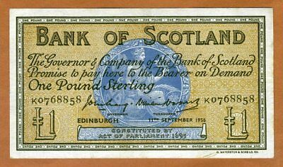 Bank of Scotland, 1 pound, 1956, P-100b, VF