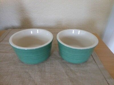 2 Le Creuset GREEN Stoneware Ramekin Dishes JAM PICKLE Condiment Bowls stamped
