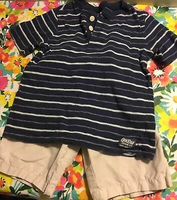 Boys 5T Navy Oshkosh Shirt and beige shorts