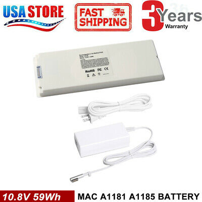 """for Apple MacBook 13"""" 200 2007 2008 2009 A1185 A1181 MA561 MA699 Battery/Charger"""