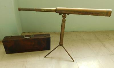 Excellent Antique Brass Telescope on Tripod Stand DOLLOND LONDON 1900s In Box