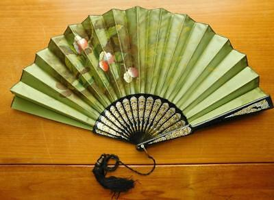 Lovely Large Edwardian Ladies Hand Painted Silk Fan c1900s