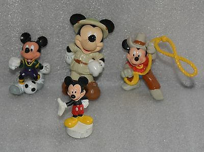 Rare Set Of Four Mickey Mouse Disney Figures Excellent Find L@@k!!