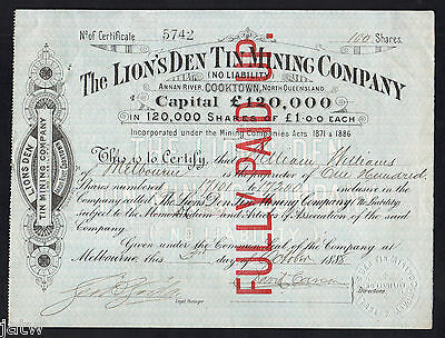 Share Scrip - Mining. 1888 The Lions Den Tin Mining Co - Cooktown, Nth Qld