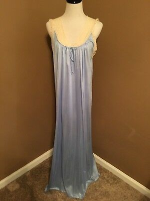 Vintage Aristocraft long nylon nightgown baby blue with ecru lace Size Large