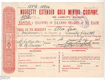 Share Scrip - Gold Mining. 1899 Nuggetty Extended Gold Mining Co - Maldon Vic