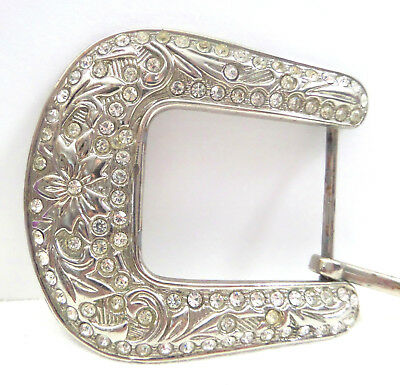 VTG Large Western Style Belt Buckle Floral Design Loaded With Clear Rhinestones