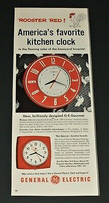 Vintage 1951 GE General Electric ROOSTER RED Kitchen Clock Original Print Ad