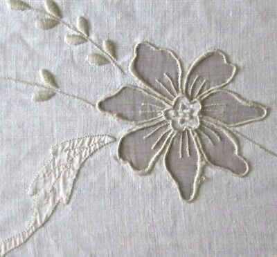 "antique Madeira linen banquet tablecloth 117x65"" w organdy insets+embroidery VG"