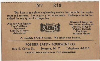 Syracuse NY Rossiter Safety Equipment Fire Extinguisher First Aid Vintage Card