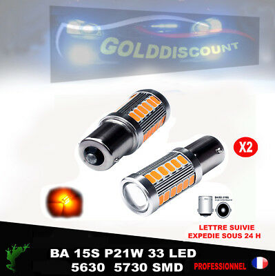 P 21w led  ba15s 33 smd orange  6000k clignotant voiture moto
