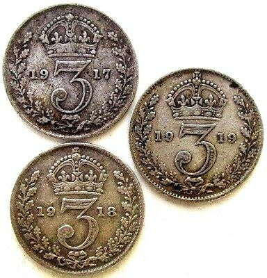 Great Britain Uk Coins, Threepence 1917 & 1918 & 1919, George V, Silver 0.925