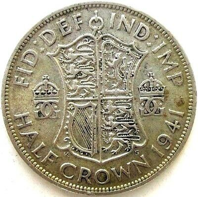 Great Britain Uk Coins, Half Crown 1941, George Vi, Silver 0.500