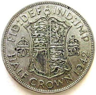 Great Britain Uk Coins, Half Crown 1942, George Vi, Silver 0.500