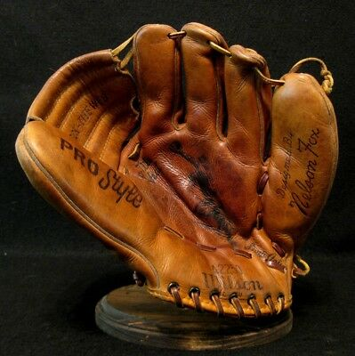 """Antique Early 1950's Wilson NELSON """"Nellie"""" FOX Leather Baseball Glove Vintage"""