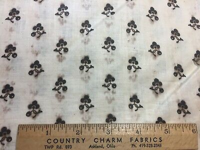 """Antique Cotton Fabric 1860s Flowers & Berries 24""""w 1/2yd"""