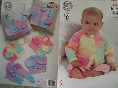 """King Cole 3842  Baby's Cardigans & Sweater DK Knitting Pattern Sizes 14-20"""""""