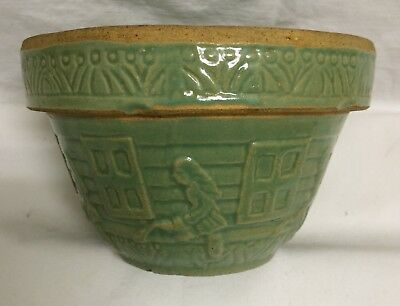 "ANTIQUE MCCOY YELLOWARE 6"" RRP Co WATERING CAN GIRL GREEN MIXING BOWL~RARE"