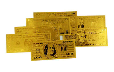 ~7Pc.LOT~COOL.999GOLD BANKNOTE REP $1,2,5,10,20,50,100