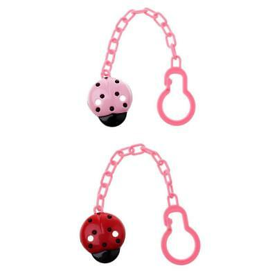 2pcs Dummy Clips Cartoon Holder Soother Pacifier Chain Boys Girls Baby Strap
