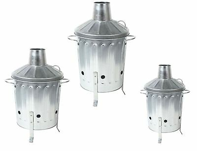 Different sizes Galvanised Incinerator Fire Bin Paper Rubbish Leaves Burner