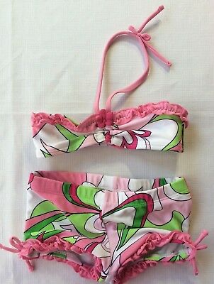Old Navy Baby Girl 6-12 Month Swim Suit Bikini with Boy Shorts Pink Green Floral