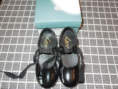 Leo's Tempo Little Girls Black Tie Tap Shoes, size 9 M, LN in Box