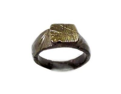 Roman Celtic Ring Engraved Abstract Floral Motif Bronze Size 7¾ Genuine AD300