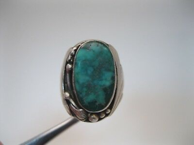 Great Vintage Navajo Silver Ring w Beautiful Turquoise signed sz12