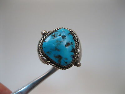 Beautiful BIG Vintage Navajo Silver & Blue Turquoise Ring signed BB sz