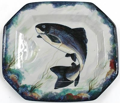 Large HIGHLAND STONEWARE Hand Painted Signed Fish DISH/ PLATTER  - B83