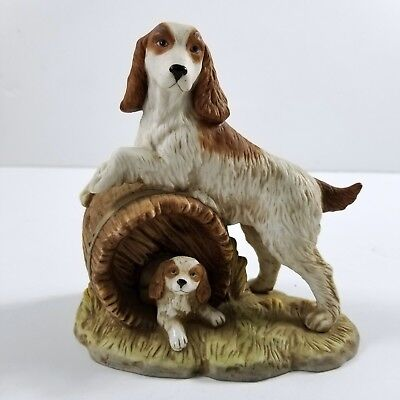 Springer Spaniel Family Mother with Puppy Figurine Porcelain By Home Interiors