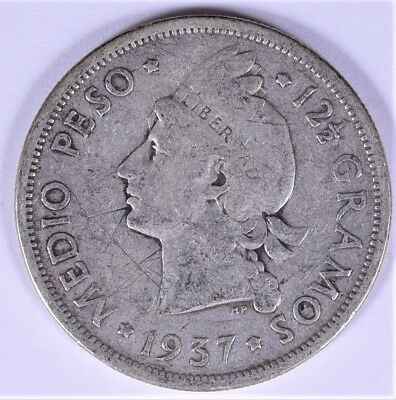 1937 Collectible Silver Dominican Republic Medio Peso 12.5 Gramos (b202.41)