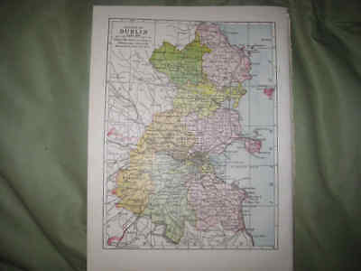Antique 1902 County Dublin Ireland Map Rathdown Fingal Detailed Rare Nr