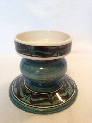Jersey Pottery Candlestick In Green And Black.