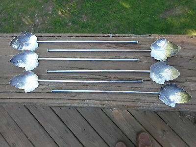 "6 Vintage Mexican Sterling "" Leaf Motif "" Ice Tea Stirrers/ Straws Signed "" Rm """