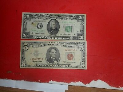 united states notes,  paper money lot of 2 ,STAR NOTES 1950,,1963