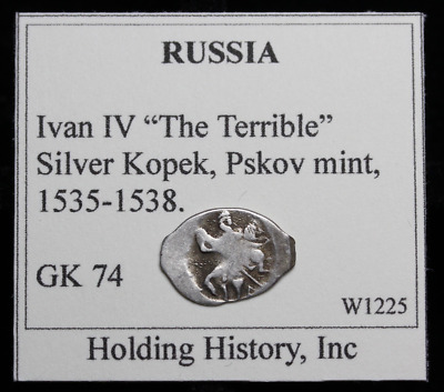"RUSSIA. Ivan IV ""The Terrible"", Hammered Silver Kopek, Wire Money, G&K 74"