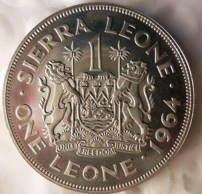 1964 SIERRA LEONE LEONE - AU/UNC - PROOF VERY Rare African Coin - Lot #524