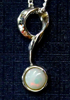 Australian Natural Solid Crystal Opal Pendant Solid Sterling Silver FreeNecklace