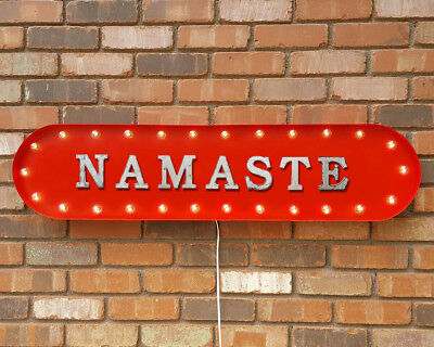 """39"""" NAMASTE Mindful Palms Bow Vintage Rustic Metal Marquee Light Up Sign"""
